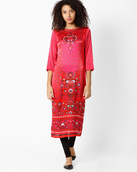 Graphic Print Straight Kurta By Indian Ink ( Fuschia )