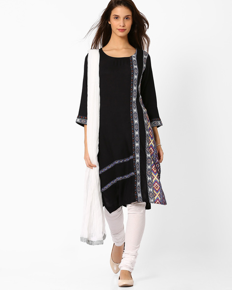 Printed Churidar Kurta With Dupatta By AVAASA SET ( Black ) - 440706676001