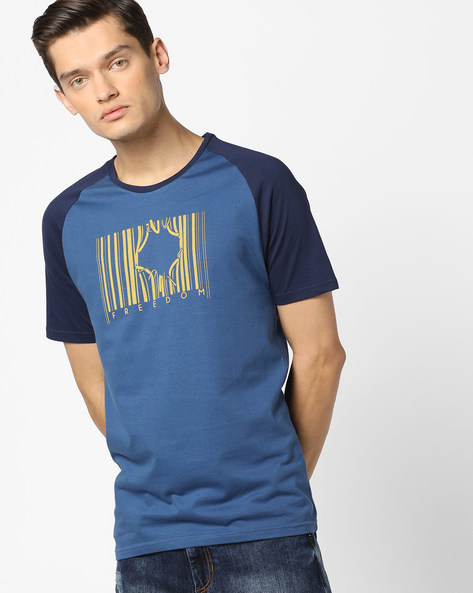 Graphic Print T-shirt With Raglan Sleeves By AJIO ( Navy )