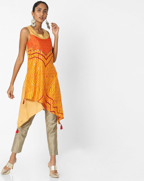 Printed Kurta With Dipped Hemline By Akkriti By Pantaloons ( Yellow )
