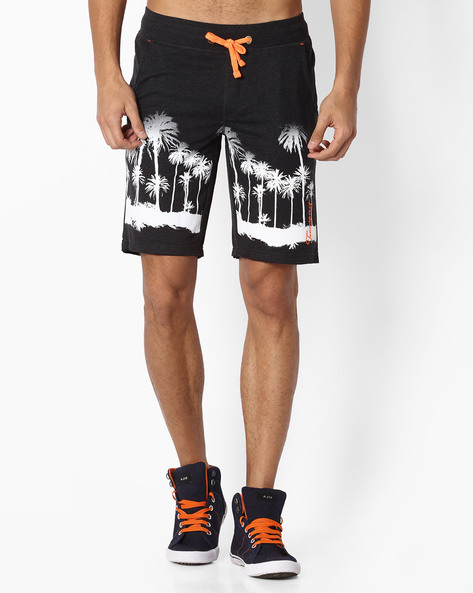 Printed Shorts With Drawstring Fastening By TEAM SPIRIT ( Black )