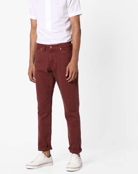 Slim Fit Cotton Twill Jeans By Blue Saint ( Brown )