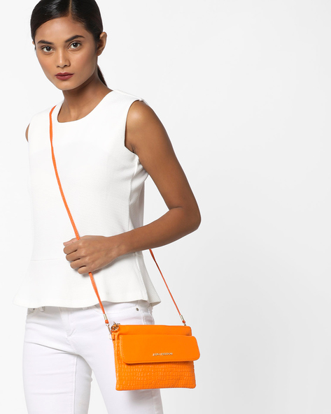 Textured Sling Bag With Detachable Shoulder Strap By Lino Perros ( Orange )