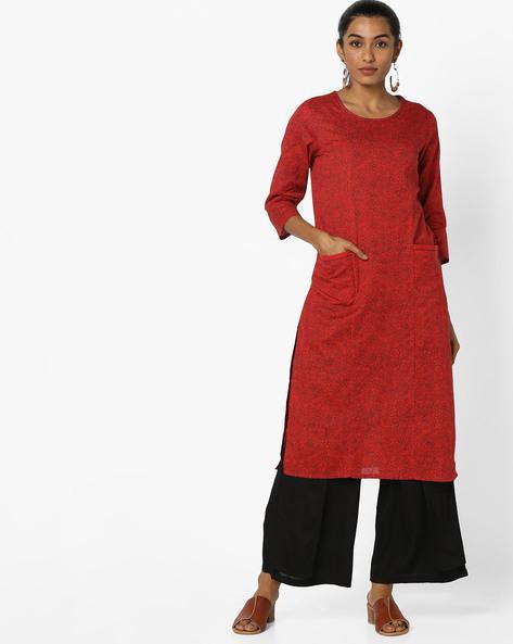 Printed Straight Kurta With Pockets By AJIO ( Red )