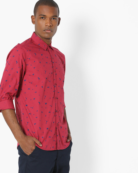 Printed Shirt With Curved Hem By Lee ( Red )