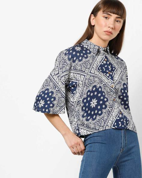 Printed Shirt With Flared Sleeves By AJIO ( Blue )