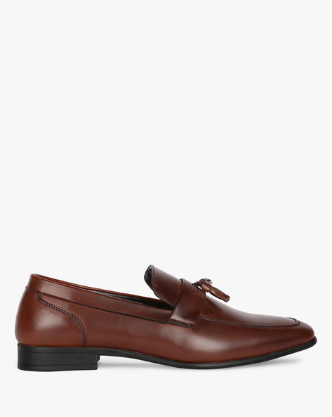 Slip-On Formal Shoes With Stacked Heels By STELVIO ( Brown )