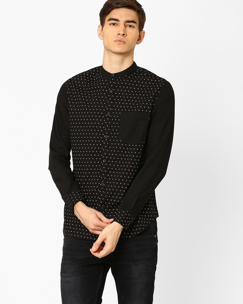 Slim Fit Shirt With Mandarin Collar By Blue Saint ( Black )