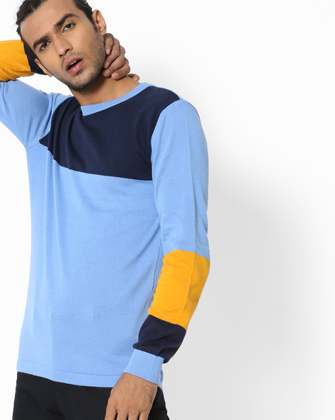 Colourblock Crew-Neck Sweater By UNITED COLORS OF BENETTON ( Blue )