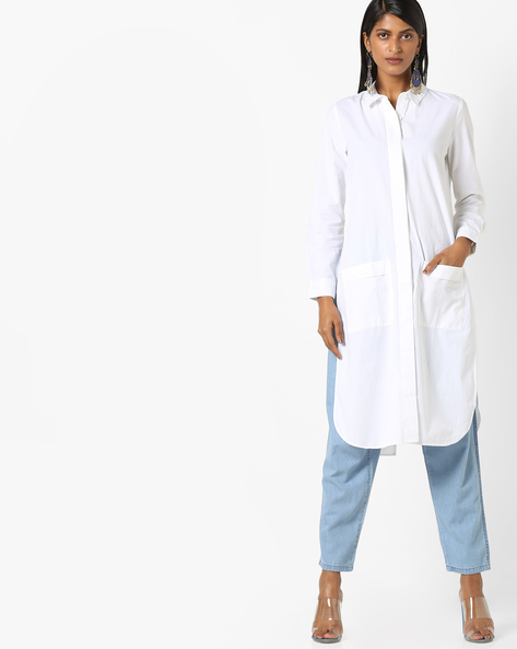 Cotton Shirt Dress With Patch Pockets By Evah London ( White )
