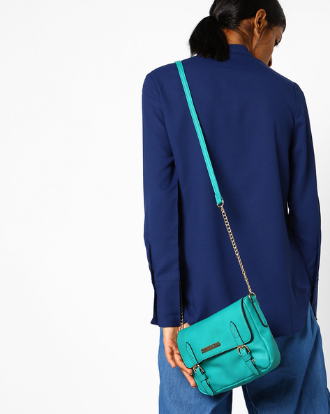 Erica Sling Bag With Flap Closure By CAPRESE ( Blue )