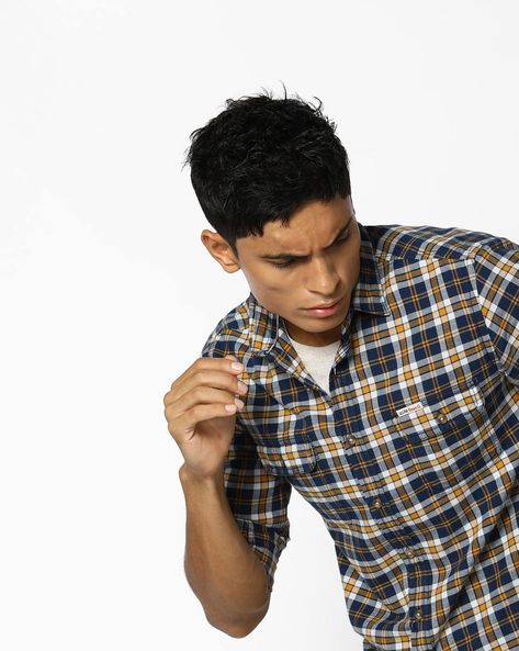 Plaid Check Slim Fit Shirt By US POLO ( Yellow )