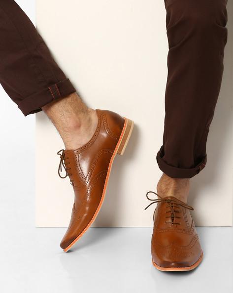 N9-Treated Genuine Leather Brogues By AJIO ( Tan )