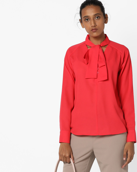 Top With Sash Tie-Up By AJIO ( Red )