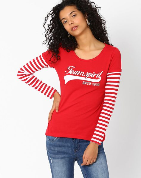 Graphic Print T-shirt With Doctor Sleeves By TEAM SPIRIT ( Red )