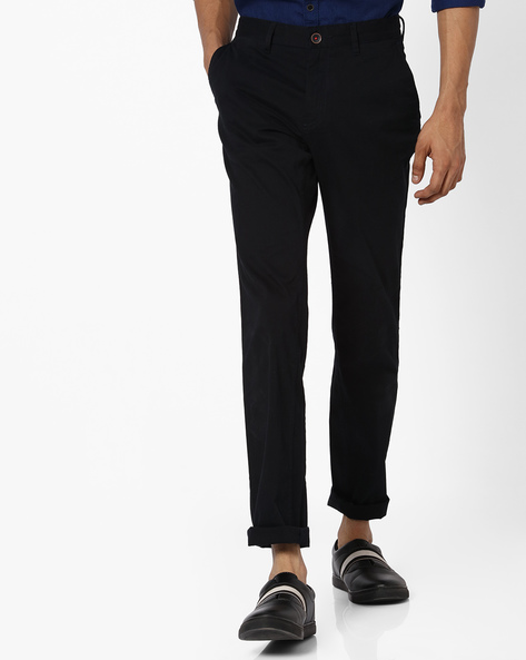 Tapered Fit Dobby Chinos By NETPLAY ( Black )