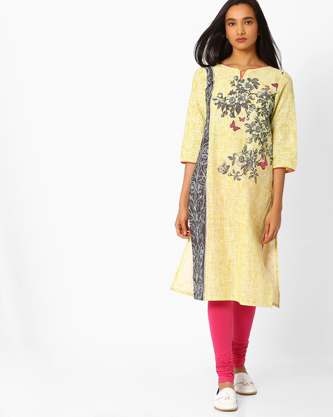 Floral Print Straight Kurta By AURELIA ( Yellow )