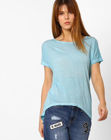 Crew-Neck Top With High-Low Hem By Fame Forever By Lifestyle ( Blue )