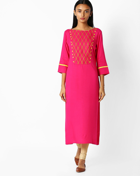 Straight Kurta With Embroidery By Jaipur Kurti ( Pink )