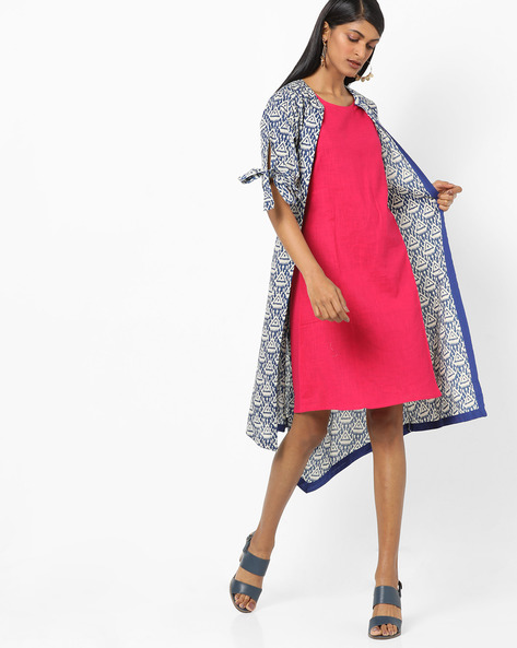 Shift Dress With Printed Shrug By Desi Fusion ( Blue )