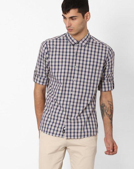 Regular Fit Checked Shirt By NETPLAY ( Khaki )