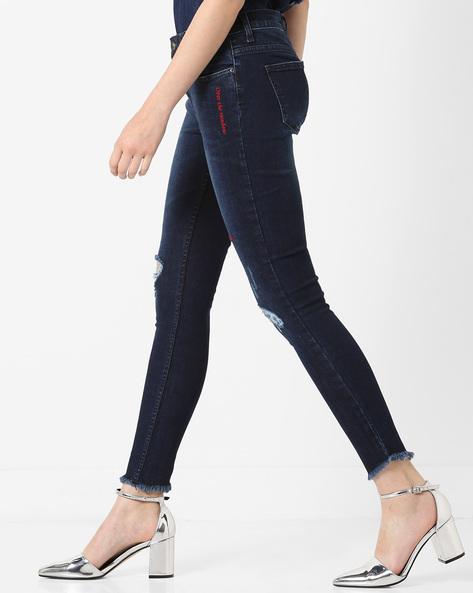 Skinny Fit Distressed Jeans By AJIO ( Darkblue )