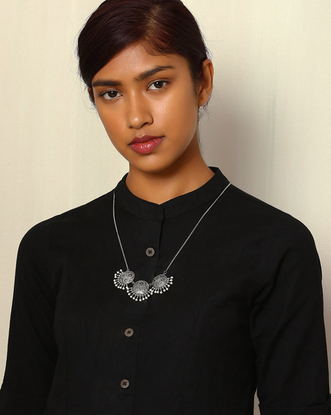 Oxidised Metal Necklace With Pendant & Pearls By Indie Picks ( Silver )
