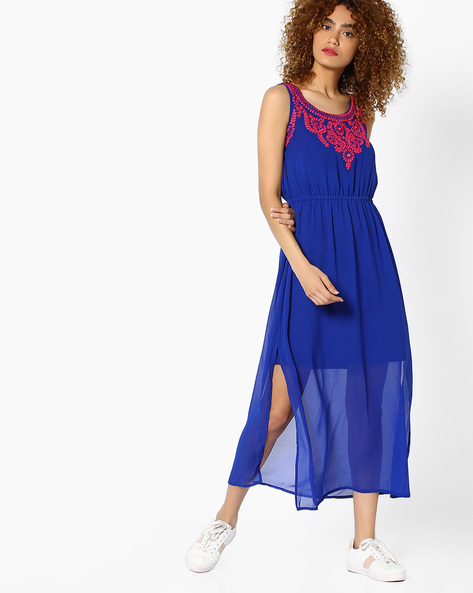Embroidered Gown With Slits By Global Desi ( Blue )