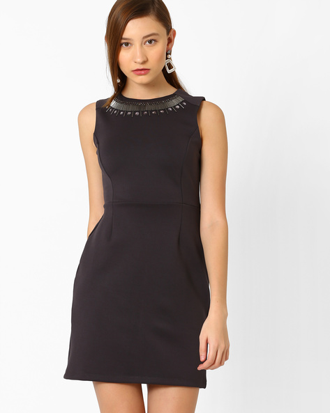 Tailored Dress With Embellished Neckline By AJIO ( Grey )