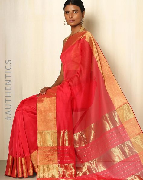 Handwoven Maheshwari Cotton Silk Saree By GoCoop ( Red )