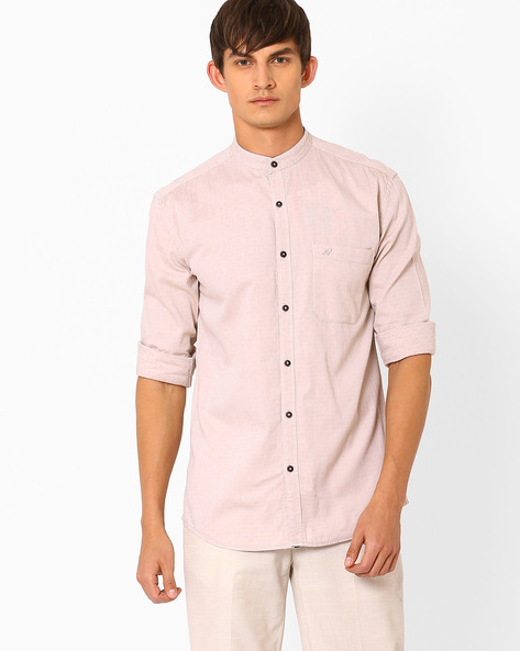 Mandarin Collar Slim Shirt With Dobby Weave By Nature Casuals ( Beige )