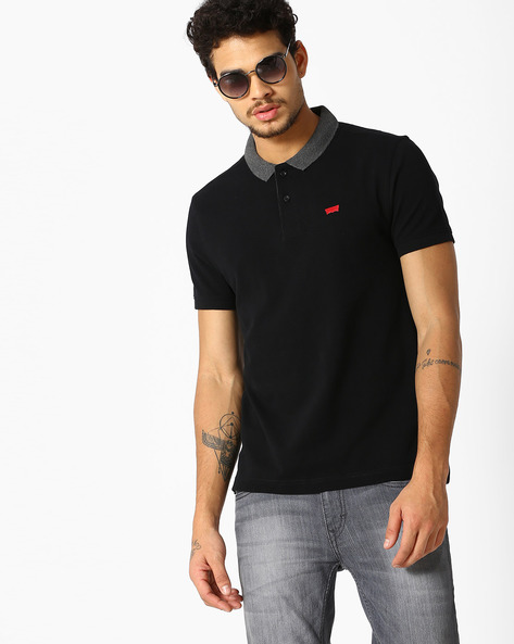 Polo T-shirt With Contrast Collar By LEVIS ( Black )