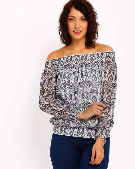 Printed Off-Shoulder Top By RIDRESS ( Offwhite )