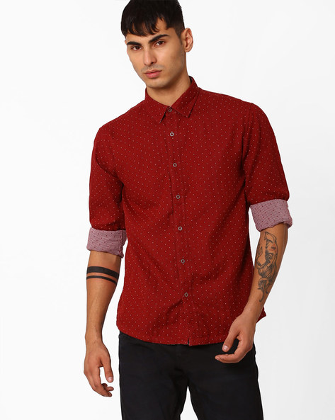 Printed Slim Fit Reversible Shirt By CRIMSOUNE CLUB ( Rust )