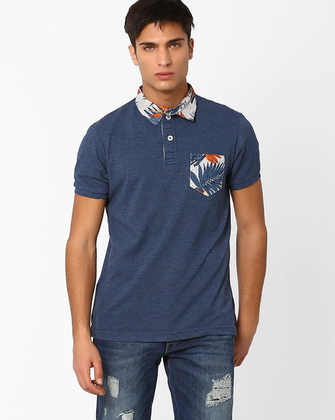 Polo T-shirt With Printed Collar & Pocket By DNM X ( Blue )