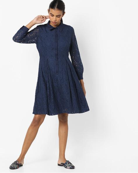 Lace Shirt Dress By Avirate ( Navyblue )