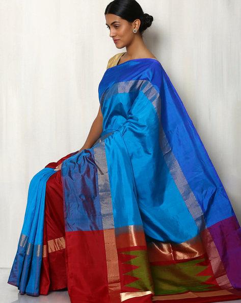 Pure Silk Saree With Zari Border By Rudrakaashe-MSU ( Multi ) - 460014959001
