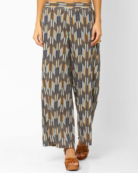 Chevron Print Palazzo Pants By AJIO ( Grey )