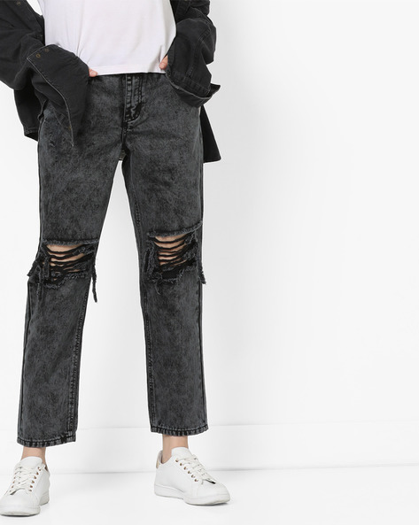 Mid-Rise Distressed Jeans By Glamorous ( Charcoal )