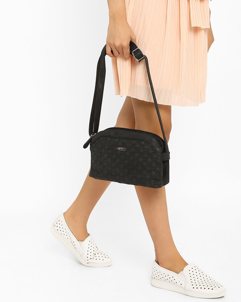 Honeycomb Quilted Sling Bag By Lavie ( Black )