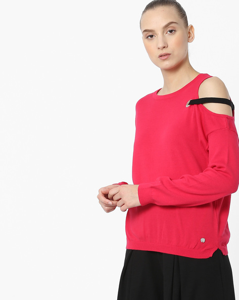 Cotton Top With Shoulder Cut-out By Only ( Magntafusha )