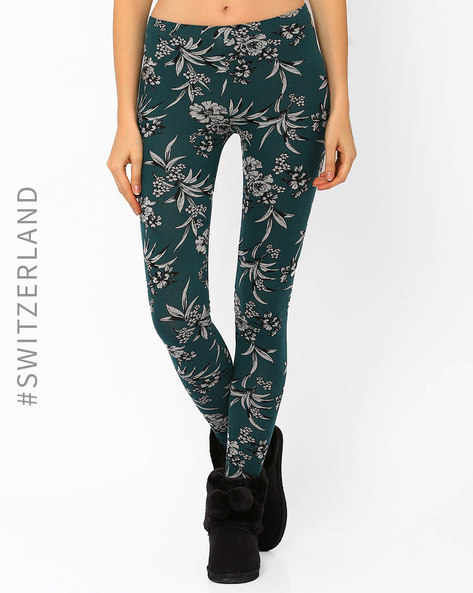 Floral Print Leggings By TALLY WEiJL ( Grey )