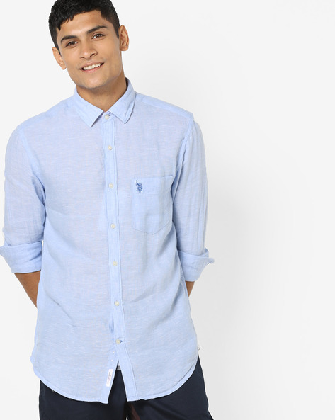 Linen Shirt With Patch Pocket By U.S. Polo Assn. ( Blue )