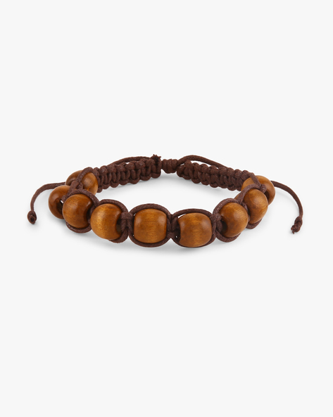 Beaded Bracelet With Adjustable Drawstring By ALPHA MAN ( Brown )