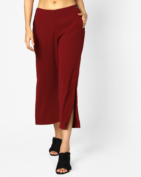 Mid-Rise Culottes With Side Slits By AJIO ( Maroon )