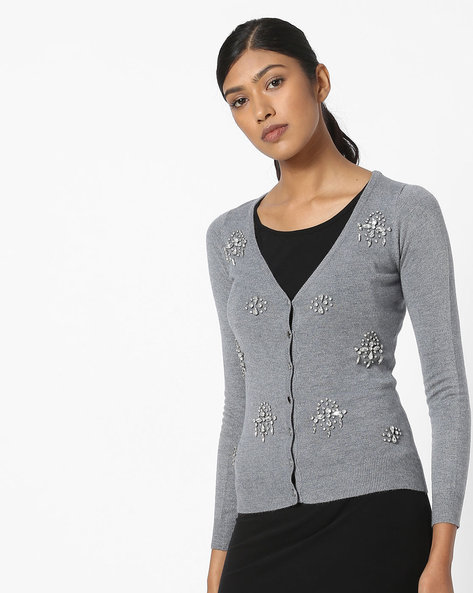 Embellished V-neck Cardigan By CODE By Lifestyle ( Grey )