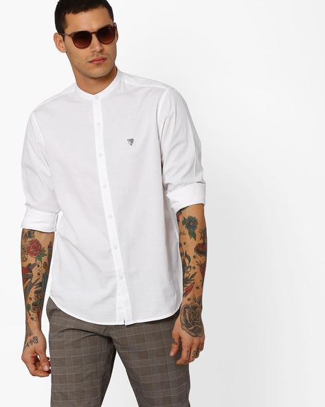 Cotton Slub Shirt With Mandarin Collar By JOHN PLAYERS ( White )