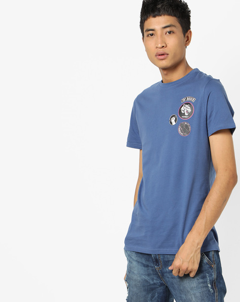 Crew-Neck T-Shirt With Placement Print By AJIO ( Navy )