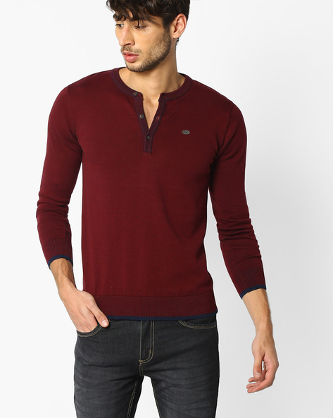 Cotton Henley T-shirt By NETPLAY ( Maroonburg )