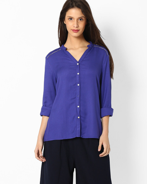 Shirt With Pleated Shoulders By AJIO ( Purple )